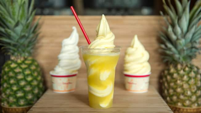 3 frozen treats from Aloha Isle snack shop, including a Pineapple float and Disney's classic Dole Whip.