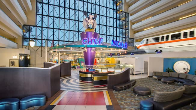 The monorail zips by Chef Mickey's in the lobby of Disney's Contemporary Resort