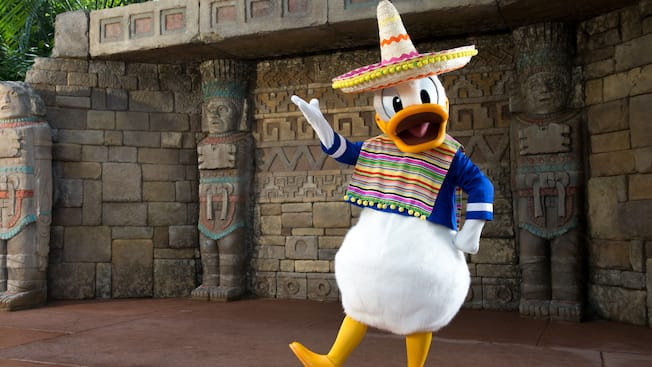 Donald Duck, wearing a sombrero, performs a Mexican dance at Meet Donald Duck in Mexico at Epcot
