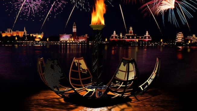 Earth Globe reveals a torch at IllumiNations: Reflections of Earth