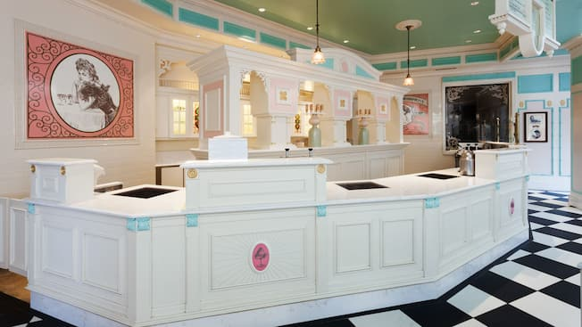 Ordering counter inside Plaza Ice Cream Parlor on Main Street, U.S.A.