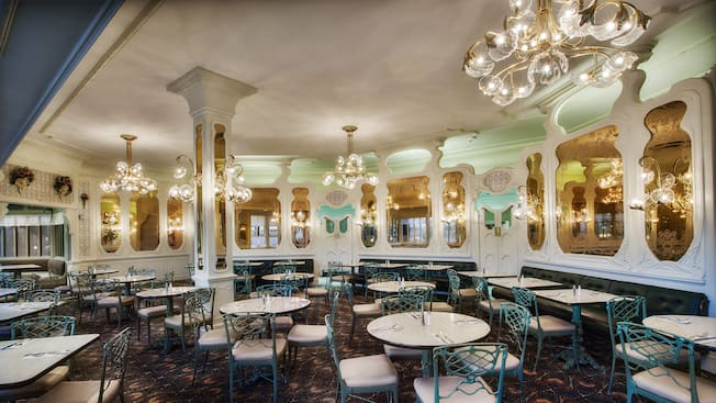 The dining area inside The Plaza Restaurant at Magic Kingdom park
