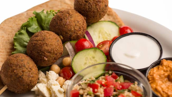 Vegetarian falafel hummus and pita dish