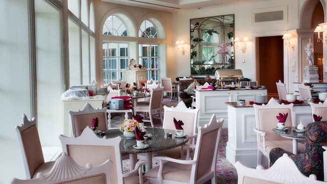 Table setting for afternoon tea in Garden View Tea Room at Disney's Grand Floridian Resort & Spa