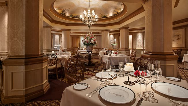 A table in the elegant main Dining Room at Victoria & Albert's