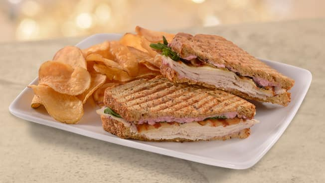 A plated panini sandwich with chips
