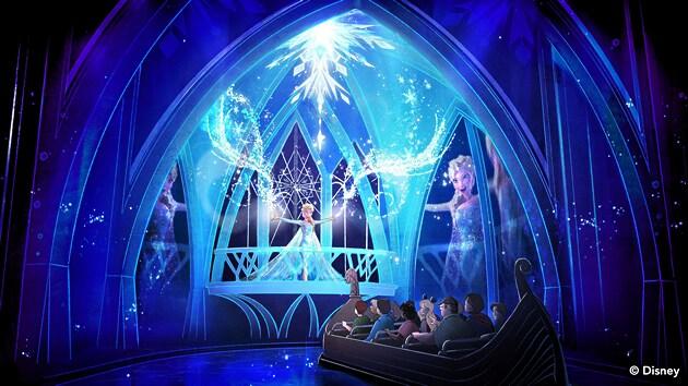 エルサが歌いながら氷のフラクタルを創造するのを眺める人々を描いたコンセプトアート