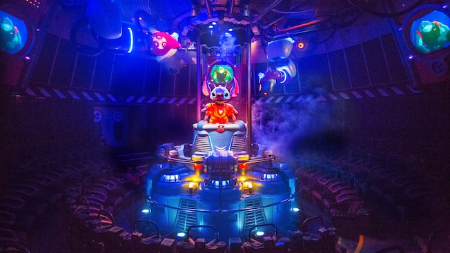 Stitch is in the spotlight center stage for Stitch's Great Escape