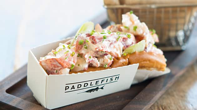 A lobster sandwich in a box