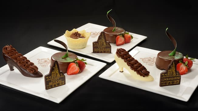 Three plates feature 3 chocolate desserts, including white or dark chocolate princess slippers