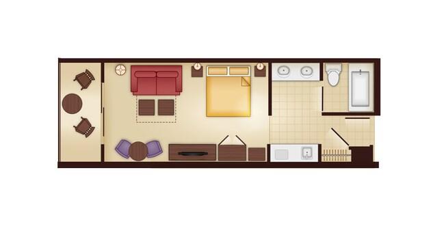A planta baixa de um studio relevando um banheiro, gabinete duplo, cozinha compacta e área de estar com uma cama, TV, sofá-cama, área de jantar para 2pessoas e um pátio