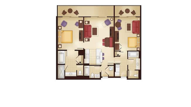 A planta baixa de uma Villa de 2quartos revelando uma cozinha, área de jantar, área de estar, 2sofás-camas e 2quartos, cada um com banheiro e pátio