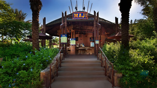 Entrance to African-themed Maji Pool Bar at Disney's Animal Kingdom Villas – Kidani Village