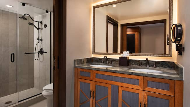 Bathroom with a double sink vanity, a toilet and a shower
