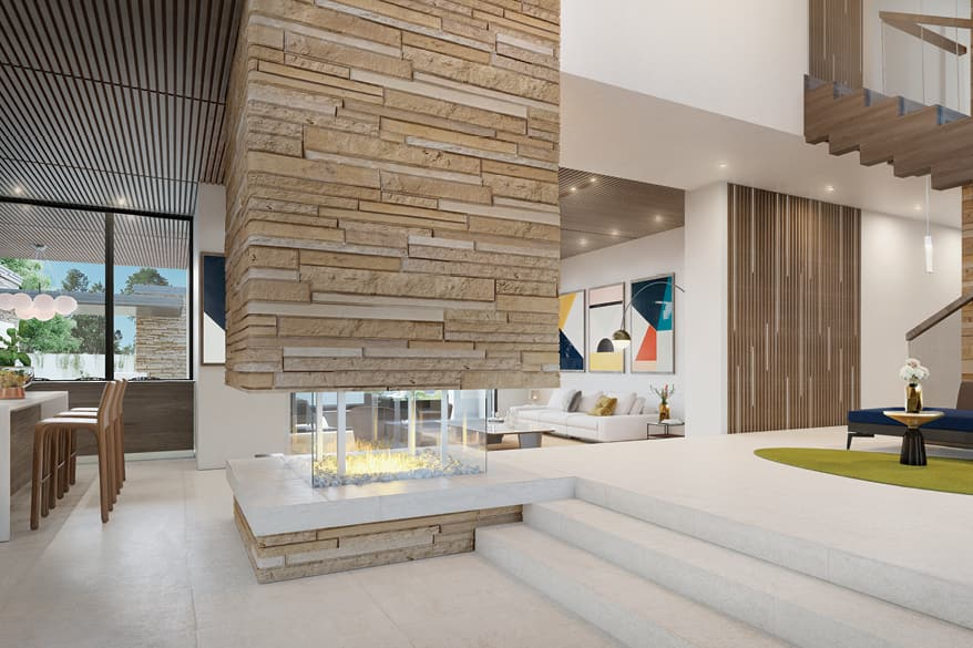 The living area in Nyumbani, featuring a dramatic stone fireplace