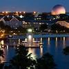 Disney's Beach Club Resort and Crescent Lake, lit up at night