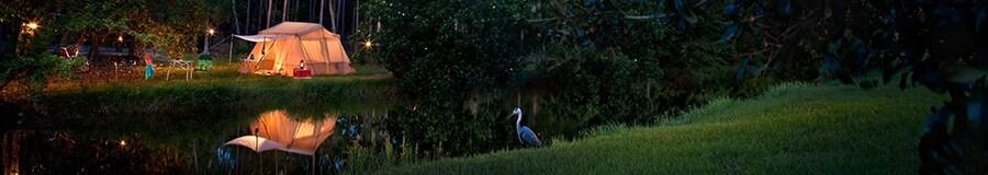 Campsite at Disney's Fort Wilderness Resort, lit up at night
