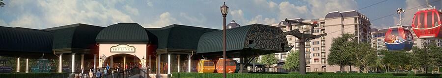 A station of Disneys Skyliner gondola lift system