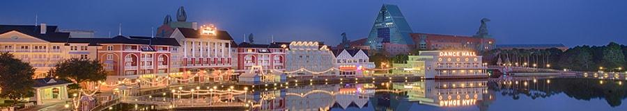 Disney's Boardwalk at night.