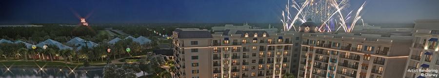Una representación artística de Disney's Riviera Resort iluminado por la noche con fuegos artificiales estallando en el cielo