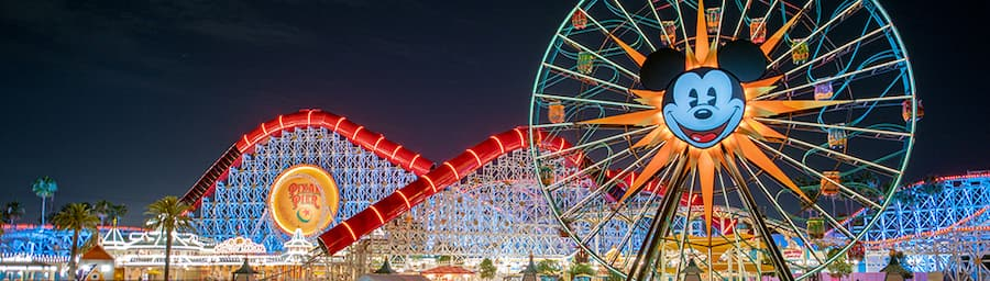 Pixar Pier Boardwalk at Night