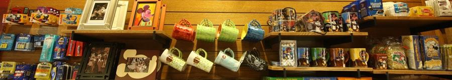 Shop display of Disney merchandise and sundries