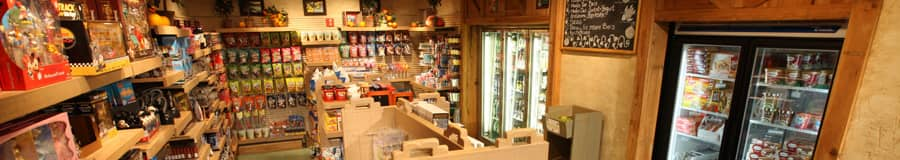 Inside the general store, showing souvenirs, snacks and frozen foods