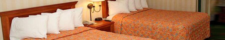 Dos camas Queen Size con cabeceras de madera, separadas por una mesa de noche y una lampara fijada a la pared