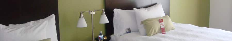 Dos camas Queen Size separadas por una mesa de noche con una lámpara y una botella de agua