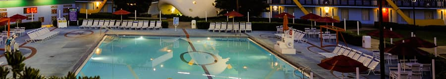 Duck Pond pool, shaped like a hockey rink and inspired by The Might Ducks