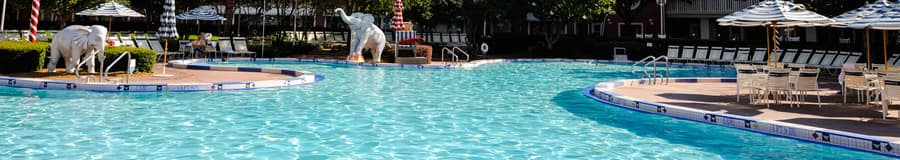 Luna Park Pool features fountains shaped like elephants that splash swimmers