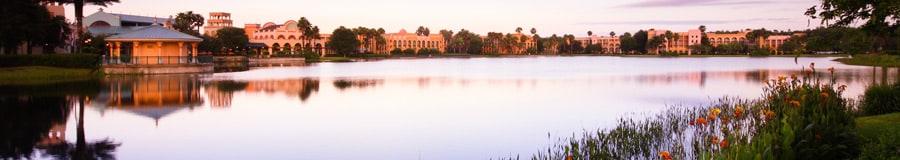 Disney's Coronado Springs Resort seen from across Lago Dorado