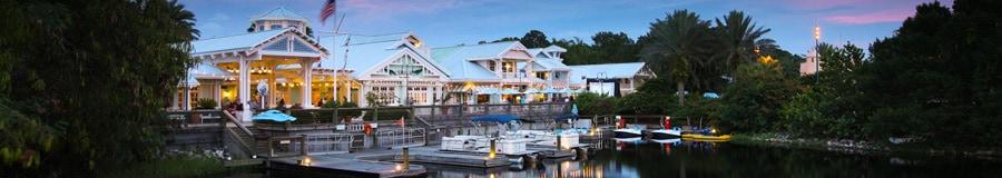 Boats docked at Disney's Old Key West Resort at night