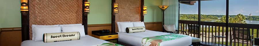 2 queen beds with rattan headboards
