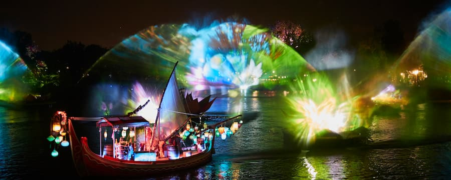 The River of Light show featuring an Asian style merchant boat decorated with lanterns