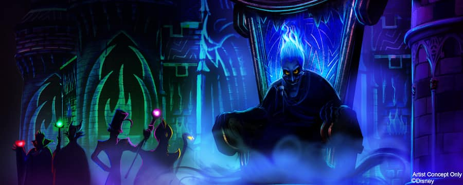 Hades sits on this throne with the Snow Queen, Maleficent, Dr. Facilier and Jafar in the background
