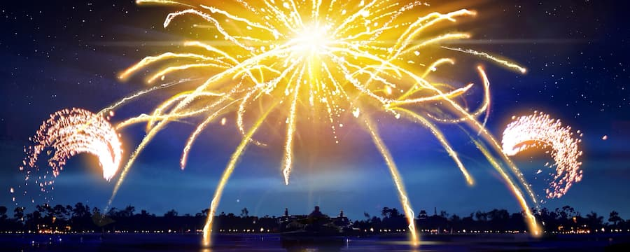 Fuegos artificiales sobre World Showcase Lagoon