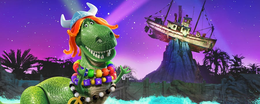 Rex from Disney and Pixar's 'Toy Story' wearing festive necklaces at Disney's Typhoon Lagoon water park
