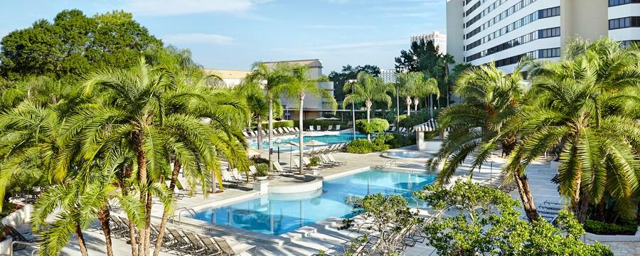 Un montón de palmeras cerca de 2piscinas rectangulares frente a un hotel
