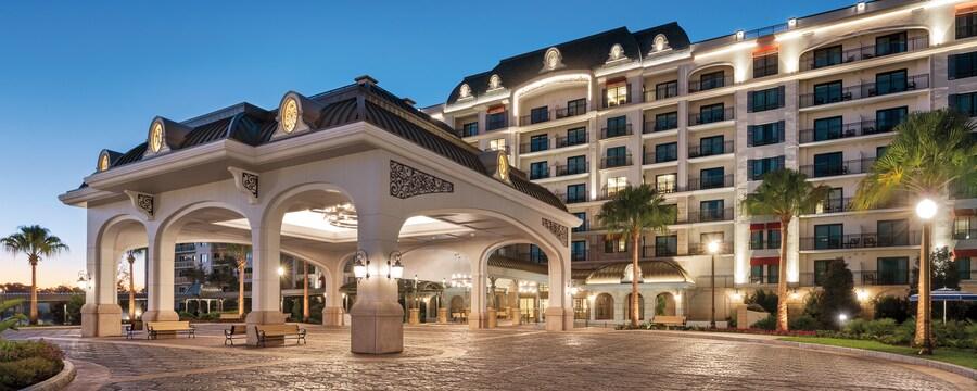 The illuminated exterior of Disney's Riviera Resort