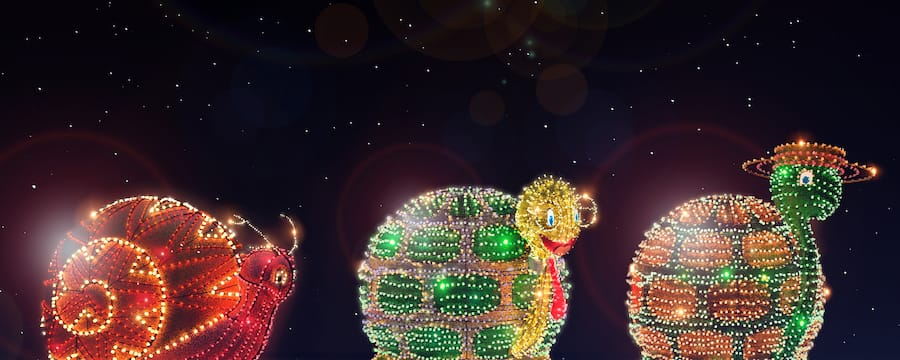 Giant Turtle and Snail with Lights in the Main Street Electrical Parade