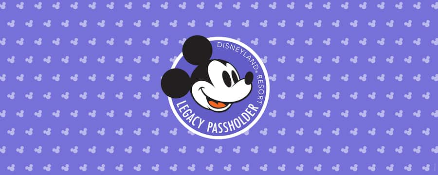 Legacy Passholder logo on a purple-coloured background with small Mickey icons