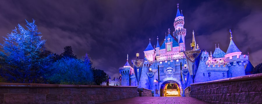 Sleeping Beauty's Castle sparkles with lights at night