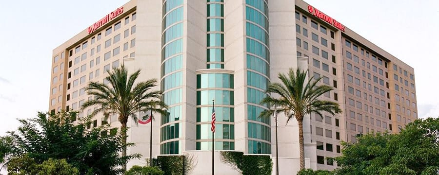 The main entrance to the 14-floor Anaheim Marriott Suites that boasts a modern design
