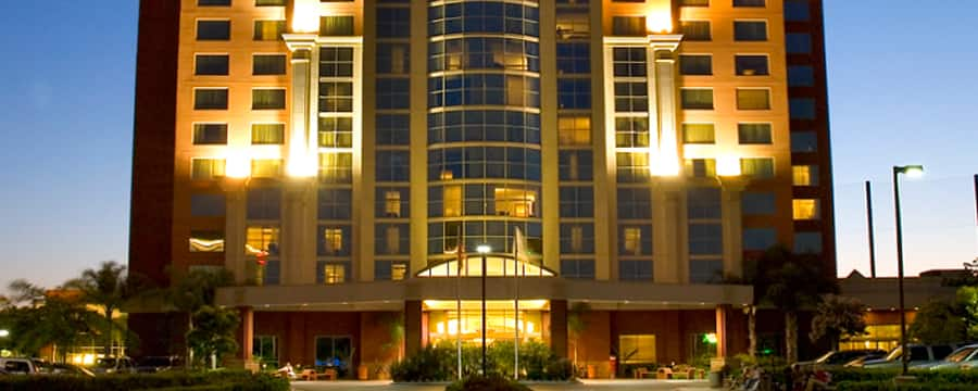 The front of the 14-story Embassy Suites Anaheim - South lit up at night