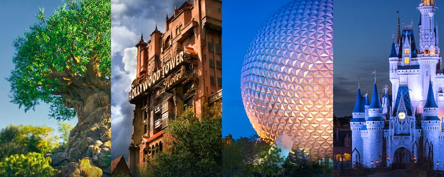 The Tree of Life, The Twilight Zone Tower of Terror, Spaceship Earth and Cinderella Castle