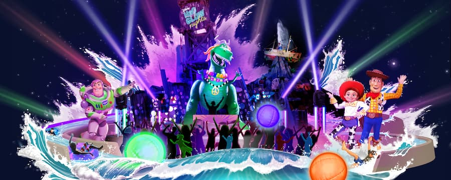 A water tower sign reads Disney H2O Glow Nights and glowing water splashes Toy Story characters