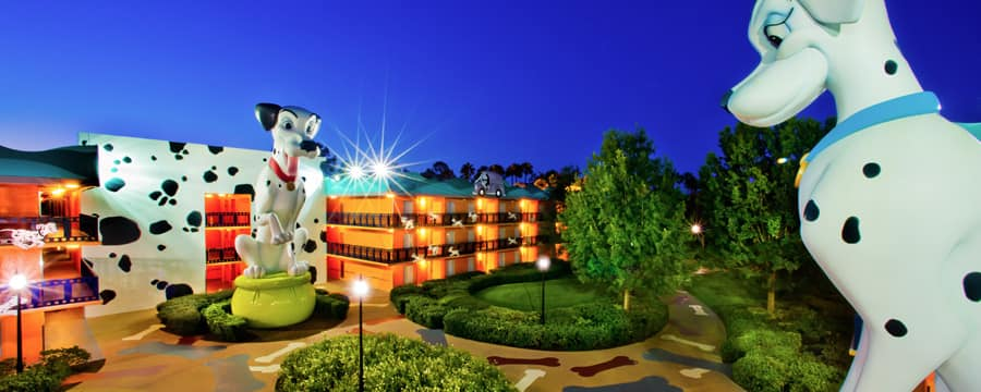 Perdita and Pongo statues overlooking Disney's All-Star Movies Resort