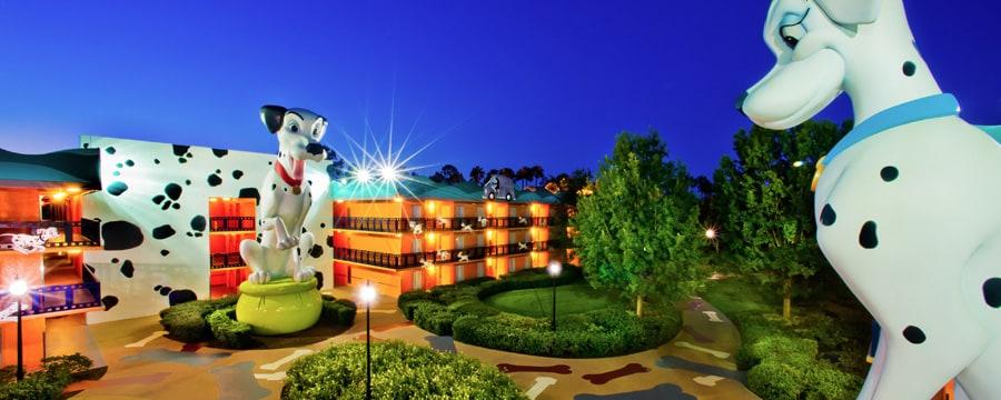 Perdita and Pongo statues overlooking Disney's All-Star Movies Resort