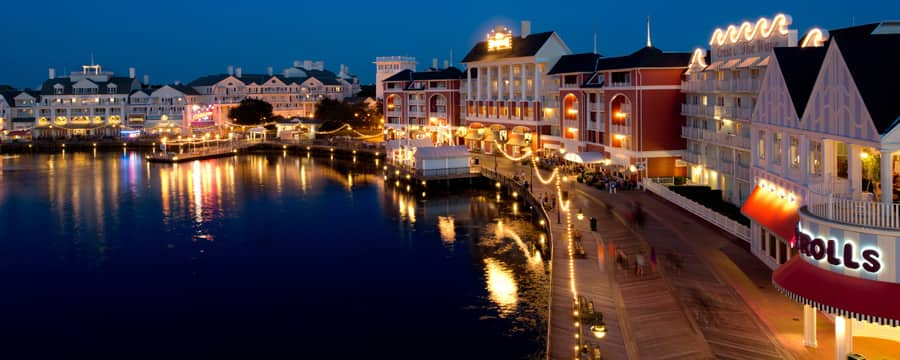 Disney's BoardWalk Villas and Crescent Lake, lit up at night